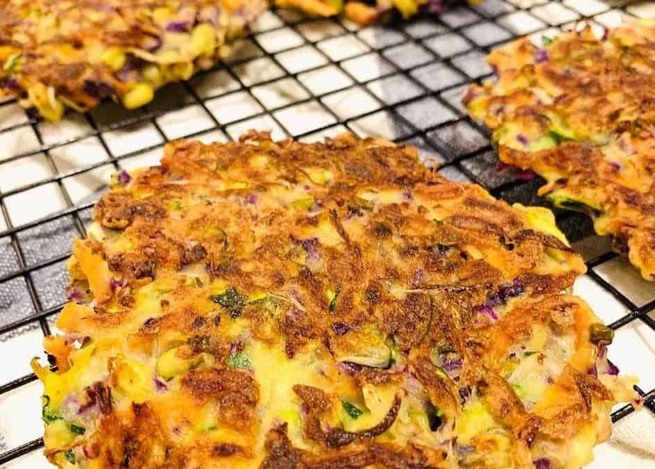 Vegetable Fritters with mung bean sprouts